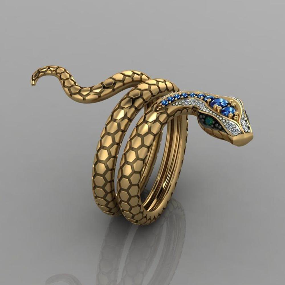 Snake Shape Micro Inlaid Royal Blue Zircon Ring 9