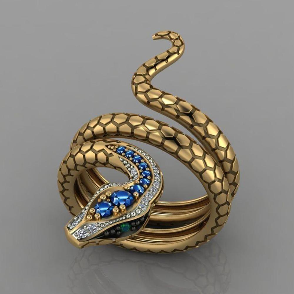 Snake Shape Micro Inlaid Royal Blue Zircon Ring 5