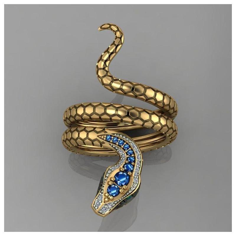 Snake Shape Micro Inlaid Royal Blue Zircon Ring 7