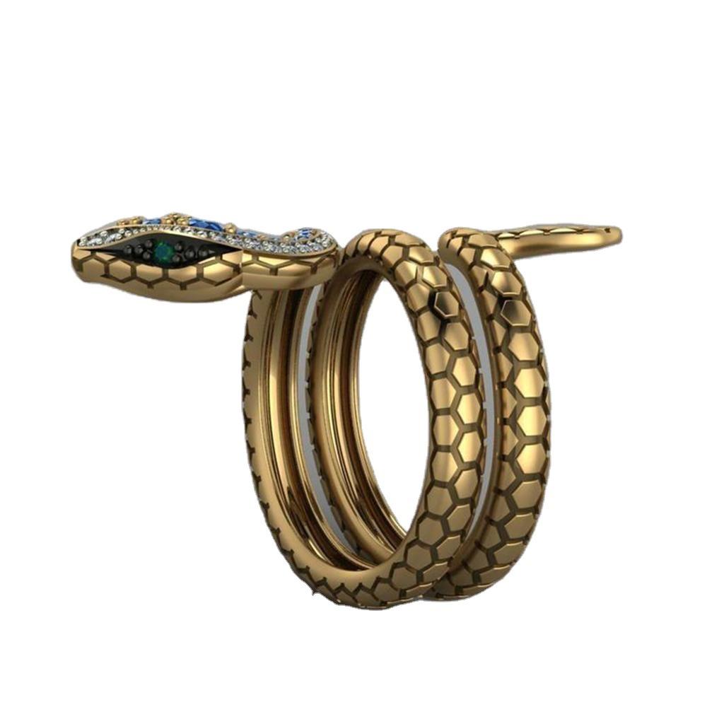 Snake Shape Micro Inlaid Royal Blue Zircon Ring 8
