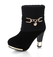 Large Size Short Boots Knitted Wool High Heel Metal Chain Martin Boots