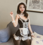 Cute Beauty Black And White Cross Maid Uniform Sexy Lingerie