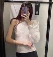 Ladies White Strapless Asymmetric Sweater