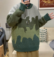 Harajuku-style Color Block Crew Neck Sweater Pullover Sweater