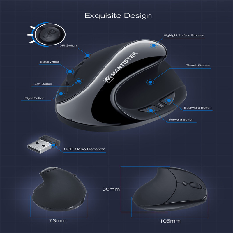 MantisTek 2.4GHz Wireless Mouse Vertical Ergonomic Optical Mouse 1600dpi Adjustable