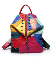 Backpack Cowhide Stitching Fashion Leather Handbags