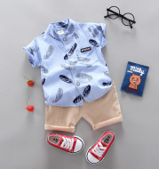 Infant Children Baby Feather Cartoon Shirt Short Sleeve Shorts Two-Piece Suit