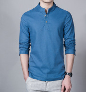 Cotton And Linen Casual Shirt Solid Color Shirt