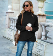 European and American Casual High Collar Solid Color Plush Long Sleeve Pullover