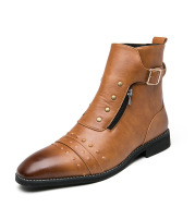 High-top Leather Boots Men's England Rub Color Casual Martin Boots