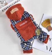 Pet Dog Clothes Plush Pocket Four-Legged Pants Plus Velvet Thick Clothing