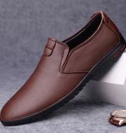 Black Casual Leather Shoes Men Korean Style