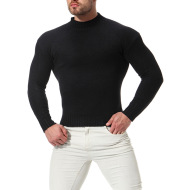 Men's High Neck Slim Bottoming Shirt Solid Color Knitted Sweater