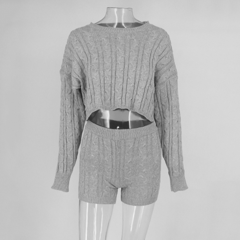 Sweater Two Piece Set Knitted Long Sleeve Crop Tops