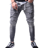 Slim Fit Ripped Feet Pants New Men's Jeans