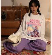 Loose Matching Printed Women's Long-Sleeved Bottoming Shirt