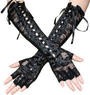 Long Half-Finger Lace Tie Ribbon Rivet Gloves