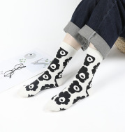 Girly Cute Ins Wind Flower Socks Cotton Mid-Tube Socks