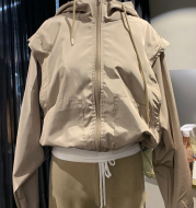 Fashion All-match Loose Solid Color Hooded Jacket Women