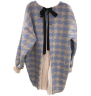 Fashion Pleated Color Matching Stitching Loose Bow Tie Lace Sweater Women