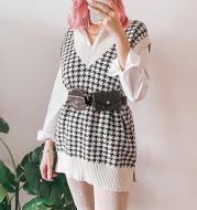 Fashion Houndstooth V-neck Loose Knit Vest Women's Outer Wear