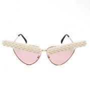 European And American Retro Handmade Pearl Cat Eye Sunglasses