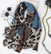 Leopard Print Cotton And Linen Scarf Women Printing Long Gauze Scarf