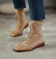 About Wind Low-Heel Flat Top Cowhide Square Toe Lace-Up Short-Leg Boots