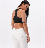 White Yoga Pants Knitted Mid-rise Tights