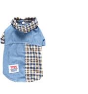 Summer Plaid Stitching Shirt Bichon Poodle Two-Legged Pet Clothes