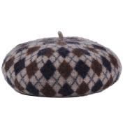 Check Wool Beret Retro All-match Painter Hat