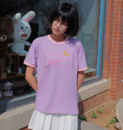 Letter Embroidery Sweet Color Matching Short-Sleeved T-Shirt