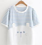 Student Shirt Blue Striped Short-Sleeved T-Shirt Girl Loose Summer Dress