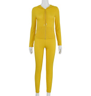 Hooded Top And Tight Pants Casual Suit