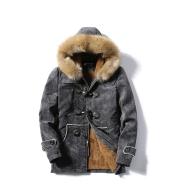 Furry Collar Horn Buckle Deer Velvet Leather Coat Men