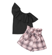 Girls' Suit Diagonal Shoulder T-shirt Pink Plaid Flower Bud Shorts Two-Piece Suit
