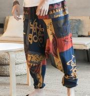 Cotton Linen Linen Color Big Crotch Suspender Pants Men's Beach Pants