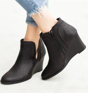 Wedge Heel Retro Roman Side Zipper Ladies Single Shoes