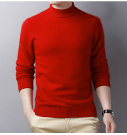 Pure Color Casual Men's Half High Collar Wool Sweater