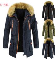 Mid-length Cotton-padded Jacket Men's Plus Velvet Thick Warm Jacket