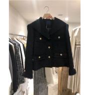 Fashionable Temperament Big Lapel Raw Edge Buttoned Short Jacket Female Trend