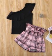 Girls Kids One Shoulder Black Ruffle Tops Plaid Shorts