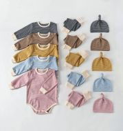 Three-piece Solid Color Baby Striped Romper Jumpsuit
