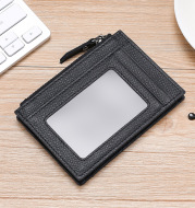 RFID Cowhide Card Holder With Zipper Coin Holder Promotion Card Holder