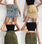 European And American High Street High Waist Bag Hip Tooling Skirt Denim Skirt
