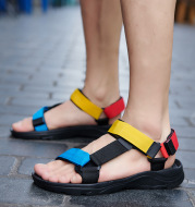 Summer Beach Leisure Open-Toed Velcro Trend Black Viscose Shoes Cloth Sandals