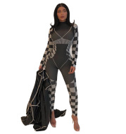 Printed Plaid Cross-Border Foreign Trade New Long-Sleeved Jumpsuit