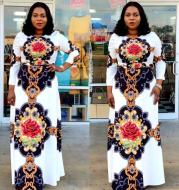 Digital Printed Rose Big Flower Waist Sleeve Round Neck Long Dress African Women's Clothing