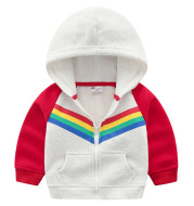 Boys Print Rainbow Zipper Hoodie Sweatshirt