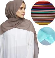 High Quality Monochromatic Ethnic Pearl Chiffon Bubble Scarf Headscarf